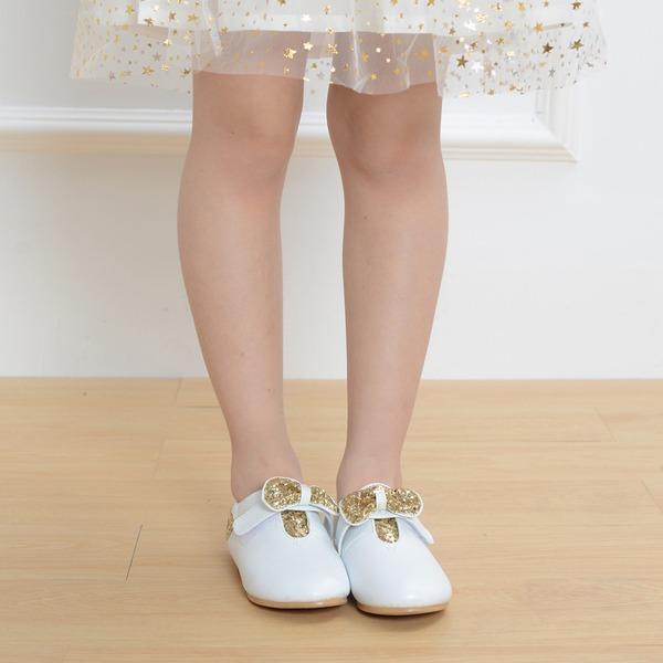 Fille de Bout fermé Cuir en microfibre talon plat Chaussures plates Chaussures de fille de fleur avec Paillette Velcro