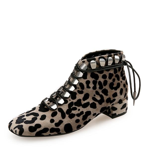 Vrouwen Suede Chunky Heel Closed Toe Enkel Laarzen met Vastrijgen schoenen