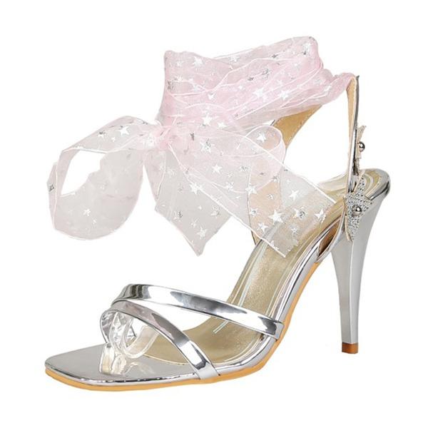 Mulheres Couro Brilhante Salto agulha Sandálias Bombas Peep toe com Fivela Aplicação de renda sapatos