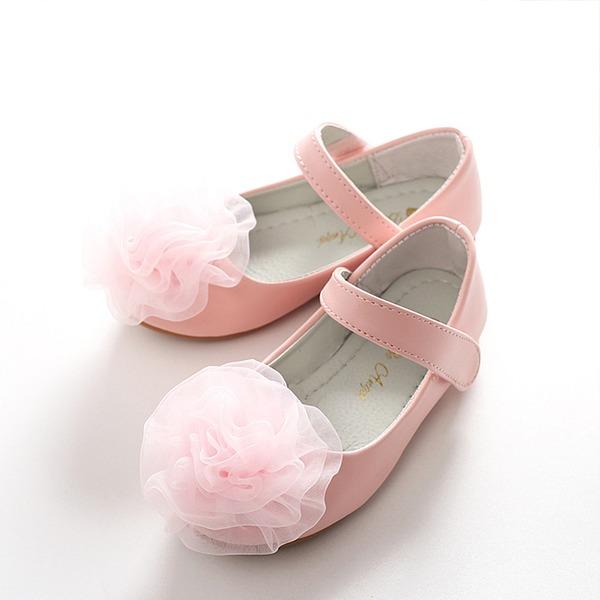 Mädchens Geschlossene Zehe Leder Flache Ferse Flache Schuhe Blumenmädchen Schuhe mit Satin Schleife Klettverschluss