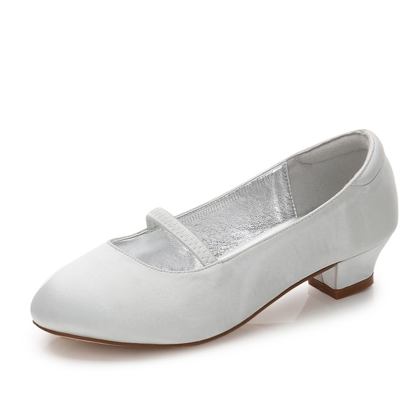 Girl's Round Toe Closed Toe Mary Jane Silk Like Satin Low Heel Flower Girl Shoes With Elastic Band