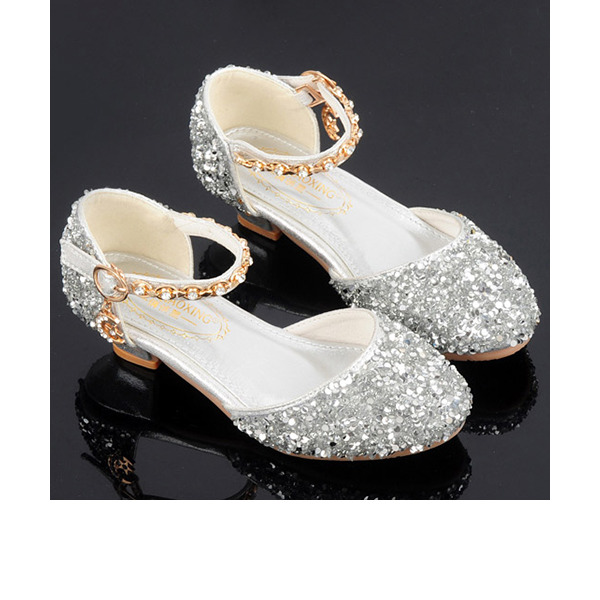 Girl's Round Toe Sparkling Glitter Flower Girl Shoes With Crystal Pearl