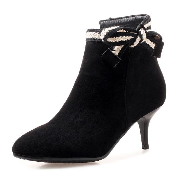 Kvinner Semsket Stiletto Hæl Pumps Støvler Ankelstøvler med Bowknot sko