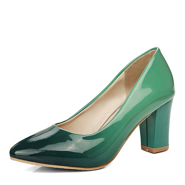 Dla kobiet Skóra Lakierowana Obcas Slupek Czólenka Zakryte Palce Z Pozostałe obuwie