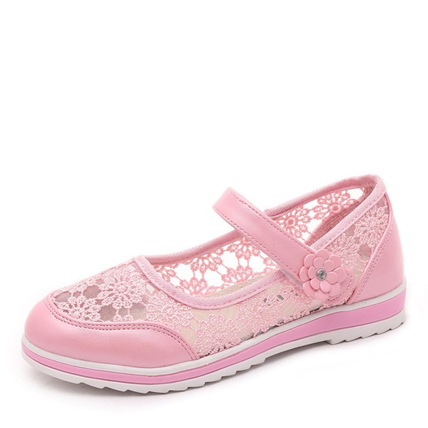 Ragazze Punta rotonda Punta chiusa Pizzo Heel piatto Ballerine Scarpe Flower Girl con Velcro Fiore
