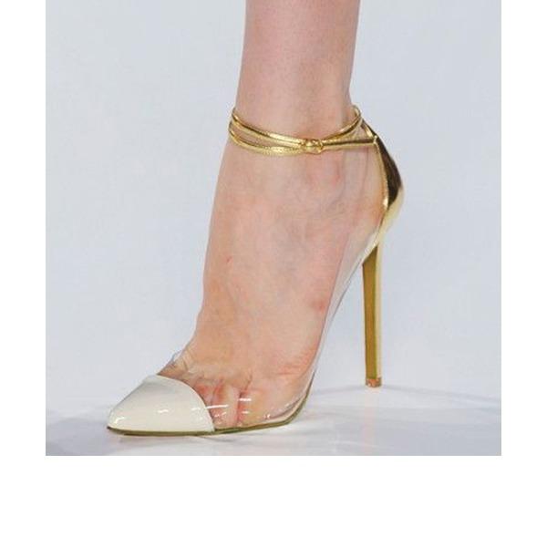Kvinnor Konstläder PVC Stilettklack Pumps Stängt Toe med Spänne skor