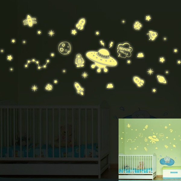 Dreamlike Planets Luminous Wall Sticker Removable PVC Decal (Sold in a single piece)