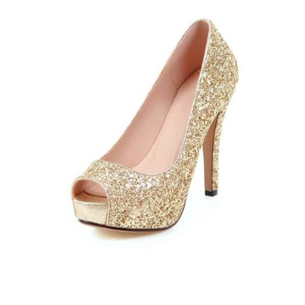 Mulheres Espumante Glitter Salto agulha Bombas Sandálias