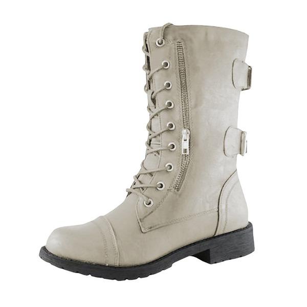 Женщины кожа Низкий каблук Ботинки с Застежка-молния обувь
