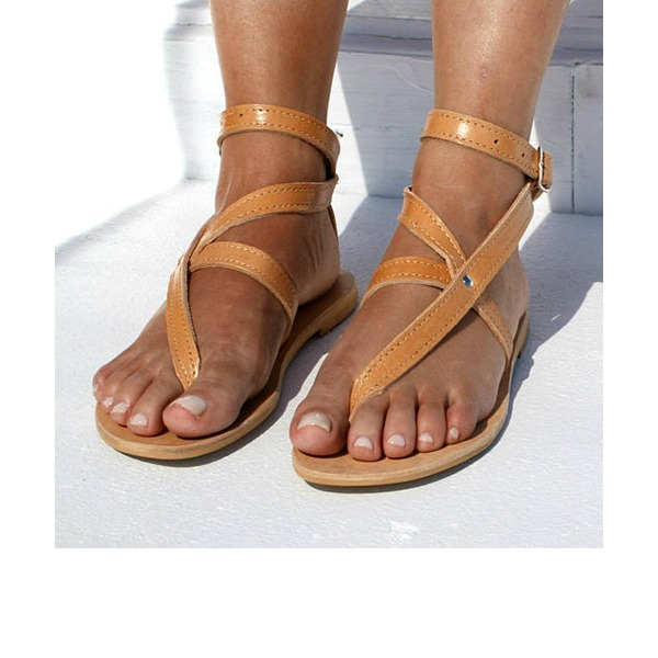 Frauen Kunstleder Flascher Absatz Sandalen Flache Schuhe Peep Toe mit Schnalle Schuhe