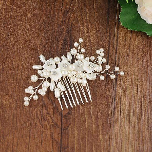 Señoras Glamorosa Rhinestone/La perla de faux Peines y pasador (Se venden en una sola pieza)