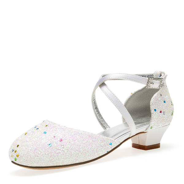 Flicka rund tå Stängt Toe Mary Jane sparkling blänker chunky Heel Pumps Flower Girl Shoes med Strass