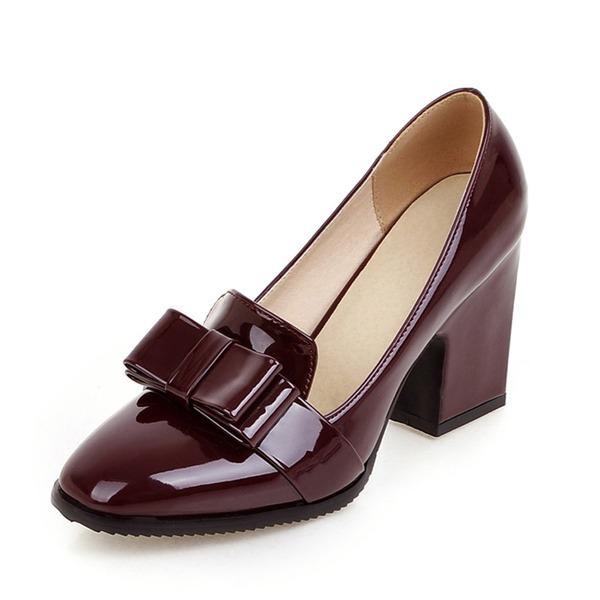 Женщины Лакированная кожа Устойчивый каблук На каблуках Закрытый мыс обувь