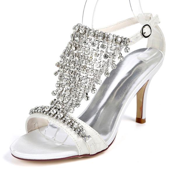 Женщины Кружева Высокий тонкий каблук На каблуках Сандалии с пряжка горный хрусталь