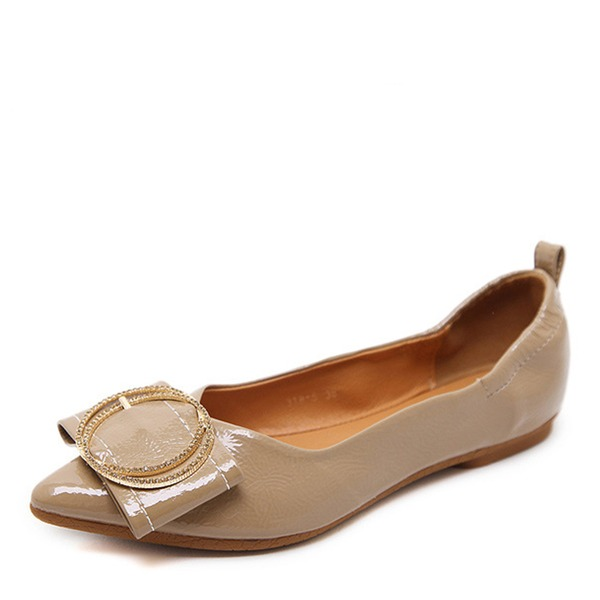 Women's Leatherette Flat Heel Flats Closed Toe With Button shoes