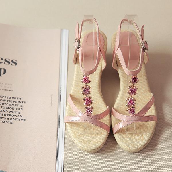 Donna Similpelle Zeppe Sandalo Zeppe Punta aperta Con cinturino con Strass Fibbia scarpe