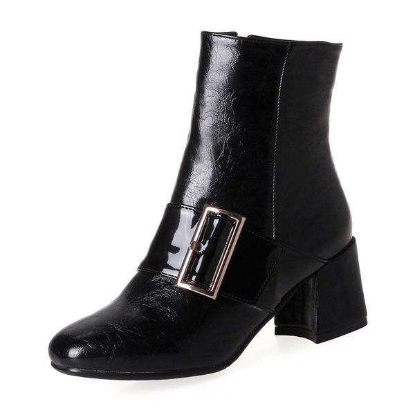 Kvinnor PU Tjockt Häl Pumps Stövlar Boots med Spänne Zipper skor