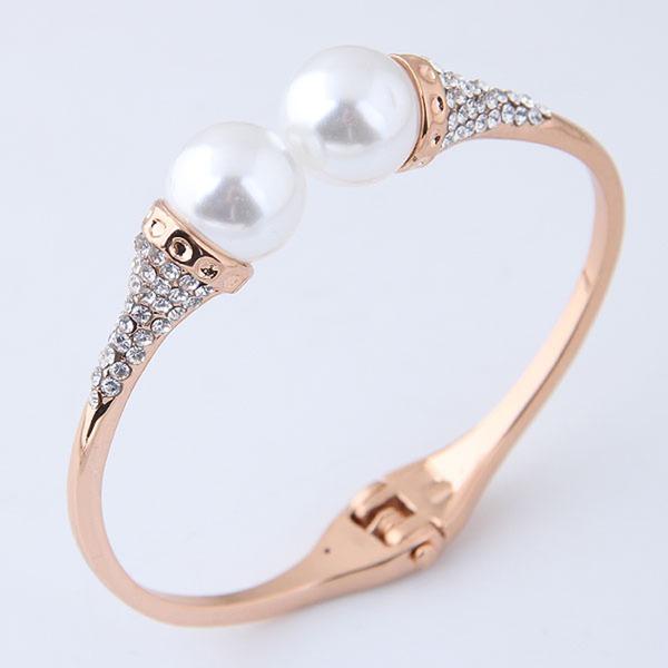 Schöne Legierung Strasssteine Faux-Perlen mit Nachahmungen von Perlen Strass Frauen Mode Armbänder (Sold in a single piece)