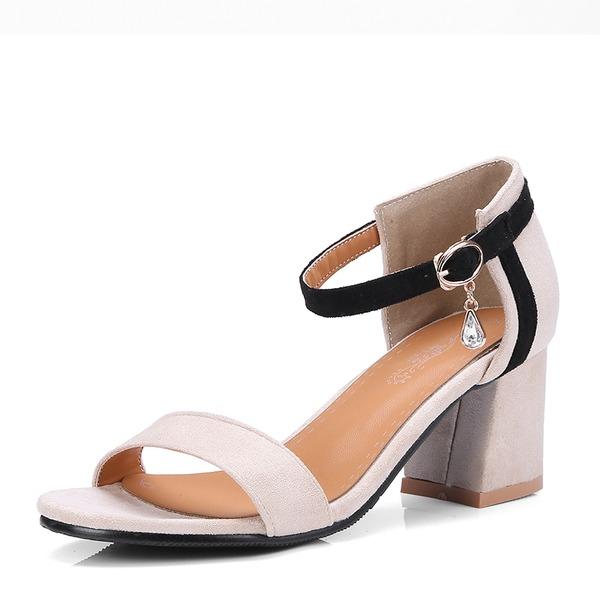 Donna PU Tacco spesso Sandalo Stiletto Punta aperta con Strass scarpe
