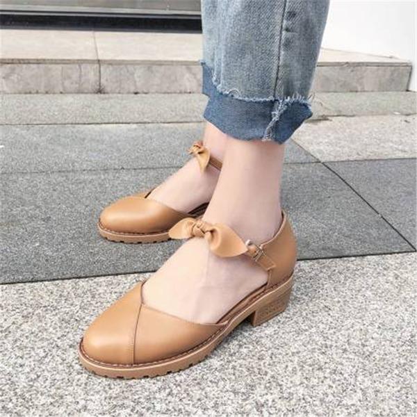 Naisten PU Chunky heel Sandaalit Suljettu toe jossa Bowknot kengät