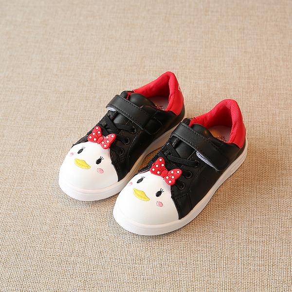 Jentas Round Toe Lukket Tå Leather flat Heel Flate sko Flower Girl Shoes med Blondér