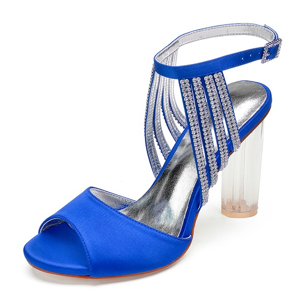 Kvinner silke som sateng Stiletto Hæl Titte Tå Pumps Sandaler med Rhinestone Krystall Hæl