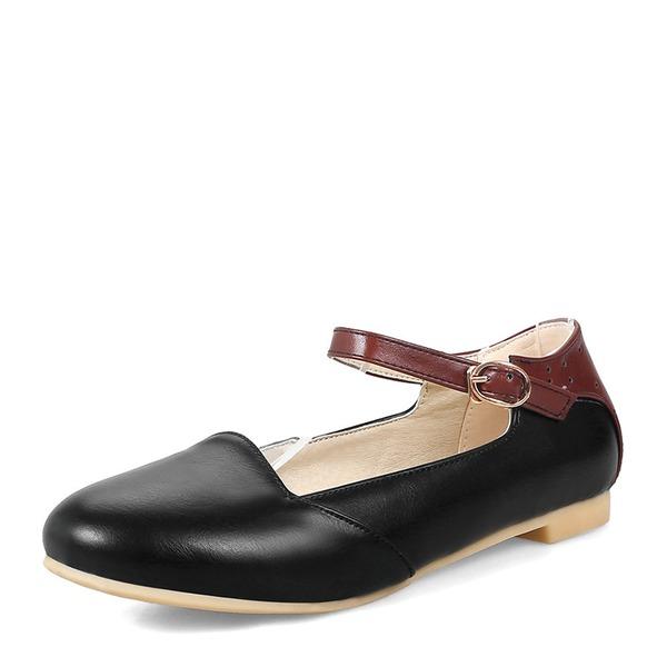 Vrouwen PVC Flat Heel Flats Closed Toe met Vastrijgen schoenen