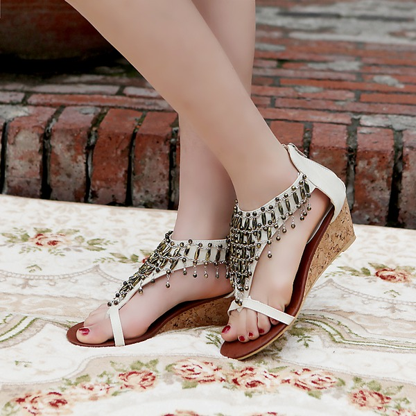 Women's Leatherette Wedge Heel Sandals Wedges Peep Toe With Rhinestone Zipper Tassel shoes
