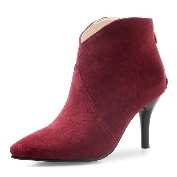 Frauen Veloursleder Stöckel Absatz Absatzschuhe Geschlossene Zehe Stiefel Stiefelette mit Reißverschluss Schuhe