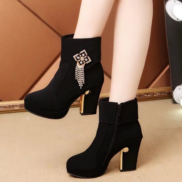 Women's Suede Chunky Heel Closed Toe Boots Ankle Boots With Rhinestone Tassel shoes
