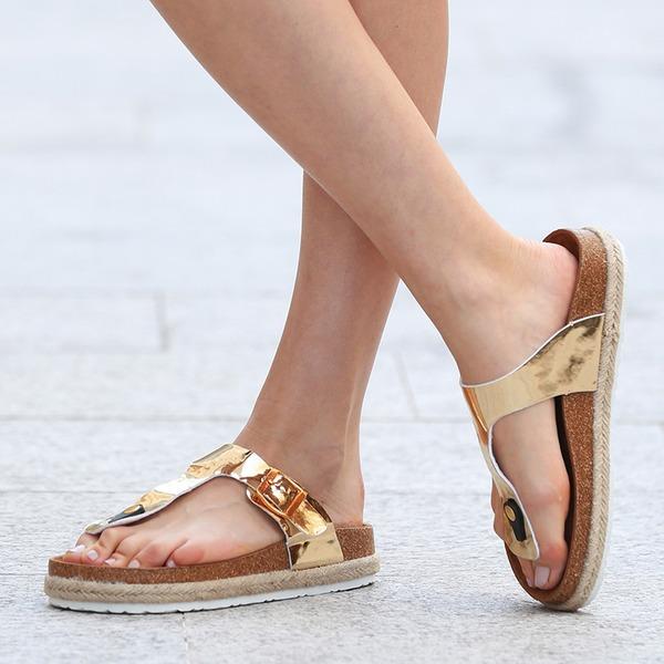 Femmes PU Talon plat Sandales Chaussures plates À bout ouvert Escarpins Tongs Chaussons avec Autres chaussures