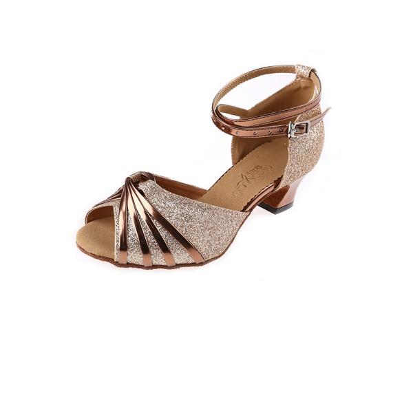 Donna Glitter scintillanti Tacchi Latino con Listino alla caviglia Fibbia Scarpe da ballo