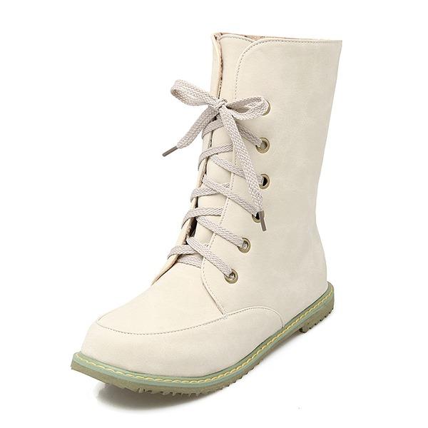 Kadın Suni deri Düz Topuk Daireler Kapalı Toe Bot Mid-Buzağı Boots Ile Bağcıklı ayakkabı