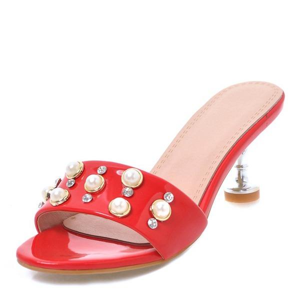 Kvinnor Konstläder Lackskinn Stilettklack Sandaler Tofflor med Strass Nita skor