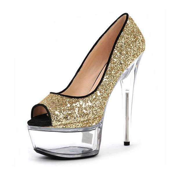 Kvinder Mousserende Glitter Stiletto Hæl Pumps Platform Kigge Tå med Mousserende Glitter sko