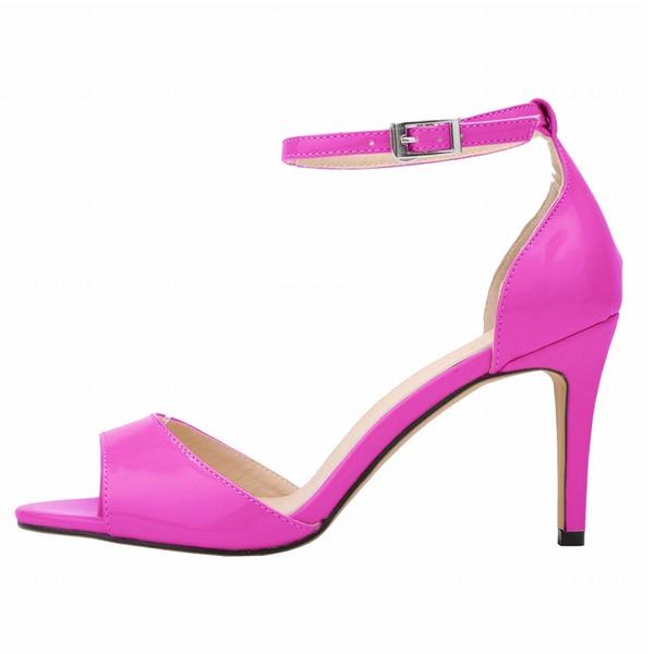 Vrouwen Patent Leather Stiletto Heel Sandalen Peep Toe schoenen