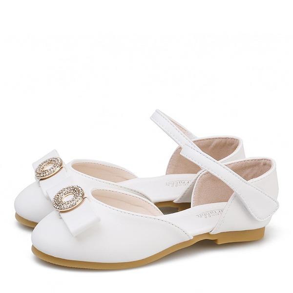 Mädchens Round Toe Geschlossene Zehe Microfaser-Leder Flache Ferse Flache Schuhe Blumenmädchen Schuhe mit Bowknot Klettverschluss