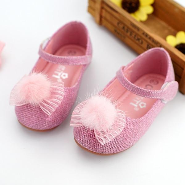 Muchacha Encaje Ballet plano Kunstleder Talón plano Planos Zapatos de niña de las flores con Bowknot Velcro pompón