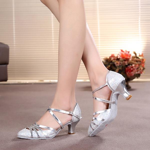 Donna Glitter scintillanti Tacchi Stiletto Sala da ballo con Listino alla caviglia Scarpe da ballo