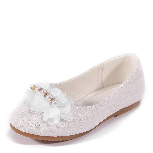 Jentas Round Toe Lukket Tå Leather Flate sko med Imitert Perle