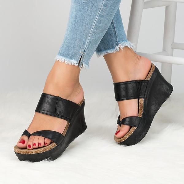 Vrouwen Kunstleer Wedge Heel Sandalen Pumps Wedges Peep Toe Slingbacks schoenen
