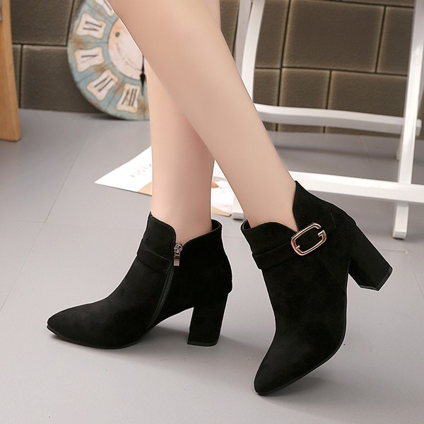 Women's Suede Chunky Heel Closed Toe Boots Ankle Boots With Buckle shoes