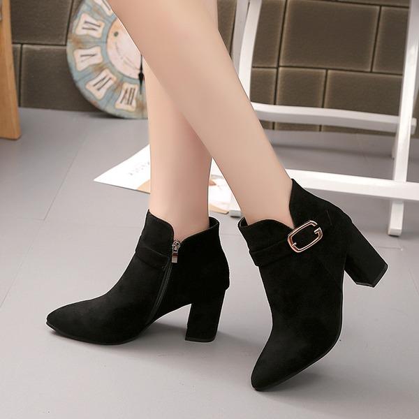 Donna Camoscio Tacco spesso Punta chiusa Stivali Stivali alla caviglia con Fibbia scarpe
