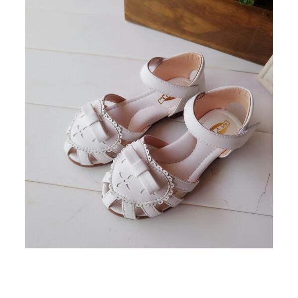 Girl's Ronde neus Microfiber leer Flat Heel Sandalen met strik Velcro Hol-out