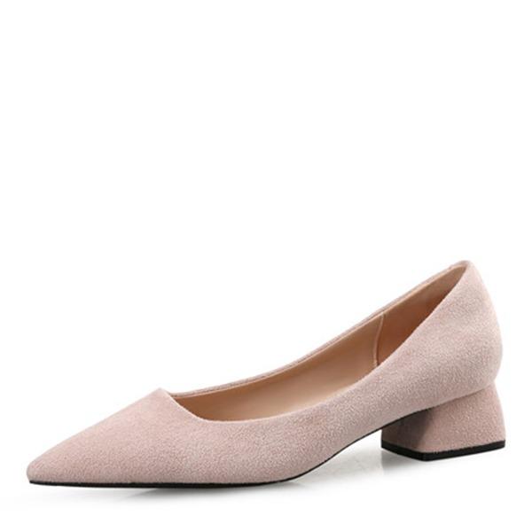 Donna Camoscio Tacco spesso Stiletto Punta chiusa con Altrui Spalline intrecciate Con risvolto Fascia di gomma scarpe