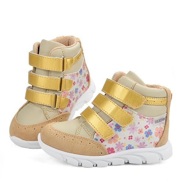 Ragazze Pelle vera Heel piatto Punta rotonda Sneakers Scarpe da Ginnastica & Atletica con Velcro