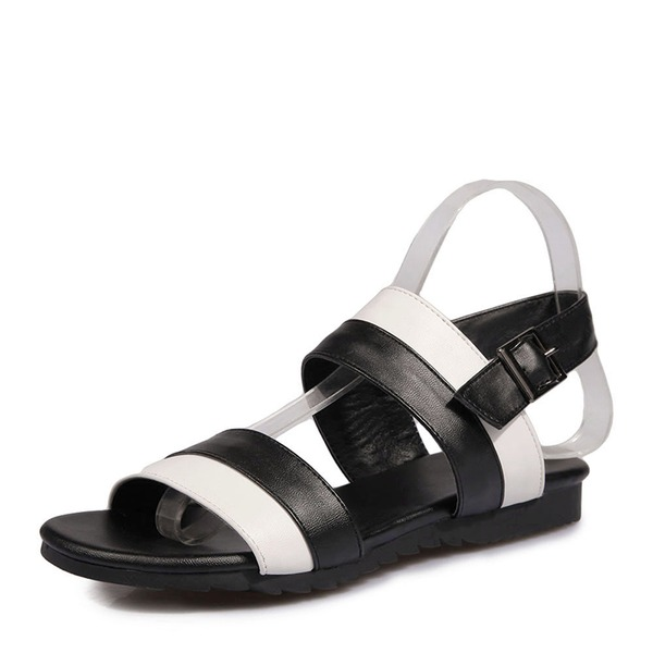 Women's Leatherette Flat Heel Sandals Flats Peep Toe Slingbacks With Buckle shoes