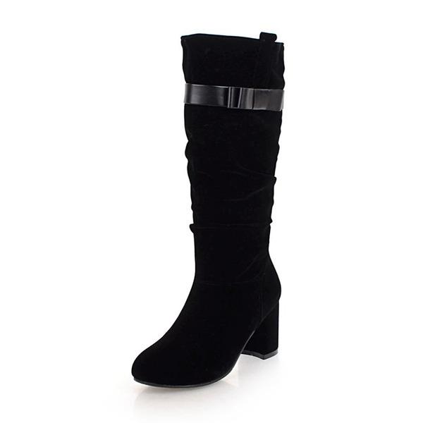 Femmes Suède Similicuir Talon bottier Bottes Bottes mi-mollets avec Boucle chaussures