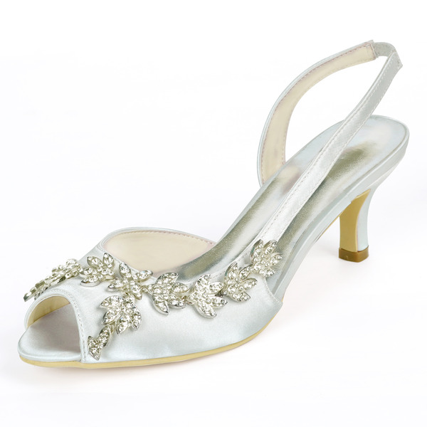 Women's Silk Like Satin Stiletto Heel Peep Toe Pumps Slingbacks With Rhinestone Elastic Band