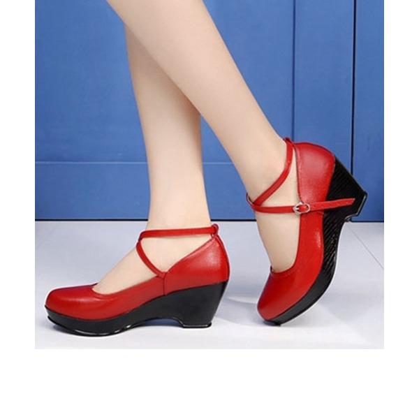 Женщины Натуральня кожа На каблуках Обувь для Персонала с Ремешок на щиколотке Обувь для танцев